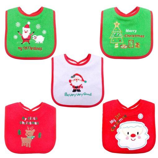 Christmas Baby Bib Pinny Fashionable Embroidered Pattern Saliva Towel Newborn Baby Waterproof Bib