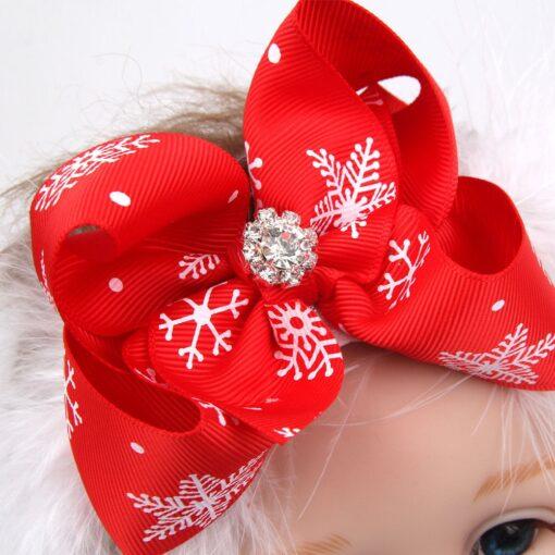 Christmas Baby Girls Toddler Bow Feather Headband Snow Flower Girl Hair Headwear attractive beautiful cutest Baby 1