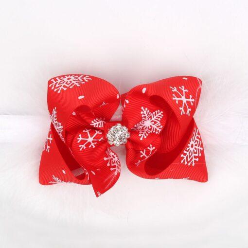 Christmas Baby Girls Toddler Bow Feather Headband Snow Flower Girl Hair Headwear attractive beautiful cutest Baby 3