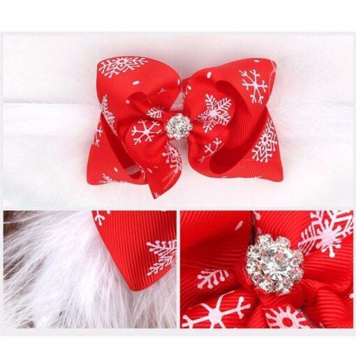 Christmas Baby Girls Toddler Bow Feather Headband Snow Flower Girl Hair Headwear attractive beautiful cutest Baby 4