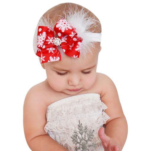 Christmas Baby Girls Toddler Bow Feather Headband Snow Flower Girl Hair Headwear attractive beautiful cutest Baby