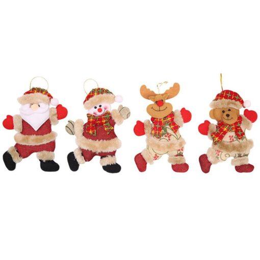 Christmas Tree Accessories Christmas Pendant Dancing Old Man Snowman Elk Bear Fabric Puppet Small Hanging Pendant 1