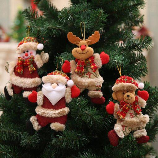 Christmas Tree Accessories Christmas Pendant Dancing Old Man Snowman Elk Bear Fabric Puppet Small Hanging Pendant 2
