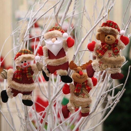 Christmas Tree Accessories Christmas Pendant Dancing Old Man Snowman Elk Bear Fabric Puppet Small Hanging Pendant 5
