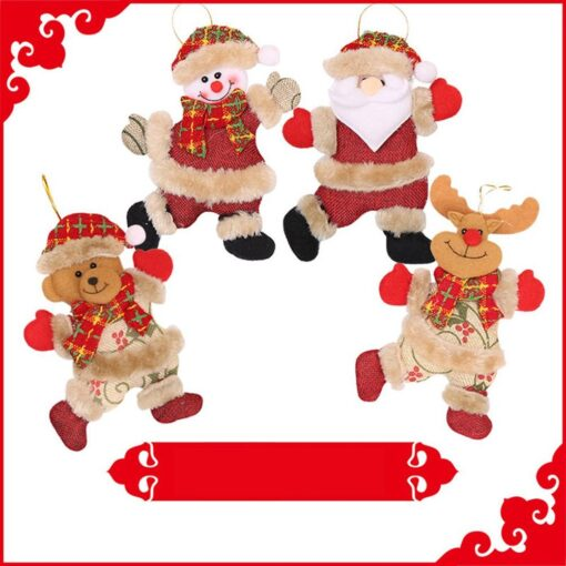 Christmas Tree Accessories Christmas Pendant Dancing Old Man Snowman Elk Bear Fabric Puppet Small Hanging Pendant