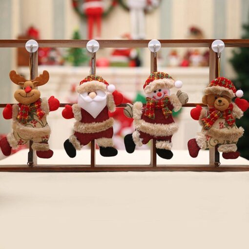 Christmas Tree Accessories Christmas Pendant Dancing Old Man Snowman Elk Bear Fabric Puppet Small Hanging Pendant 6