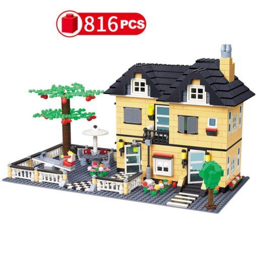 City Architecture France Villa Cottage Building Blocks set Friends Beach Hut Modular Home House Village Model 1