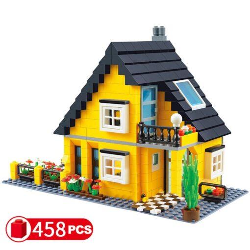 City Architecture France Villa Cottage Building Blocks set Friends Beach Hut Modular Home House Village Model 2