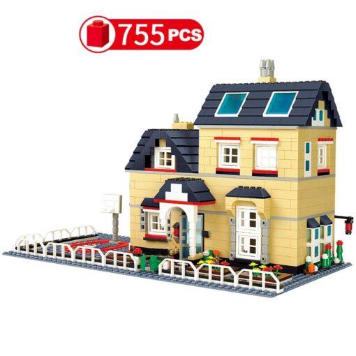 City Architecture France Villa Cottage Building Blocks set Friends Beach Hut Modular Home House Village Model 4