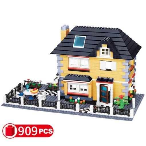 City Architecture France Villa Cottage Building Blocks set Friends Beach Hut Modular Home House Village Model 5