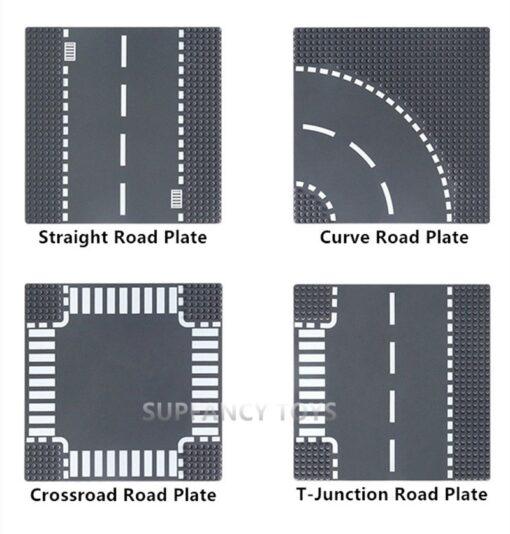 City Road Splicing Base Plate Straight T Junction Curve Street Baseplate Baseboard Building Blocks DIY Bricks 1