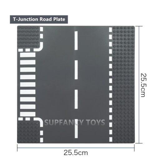 City Road Splicing Base Plate Straight T Junction Curve Street Baseplate Baseboard Building Blocks DIY Bricks 3
