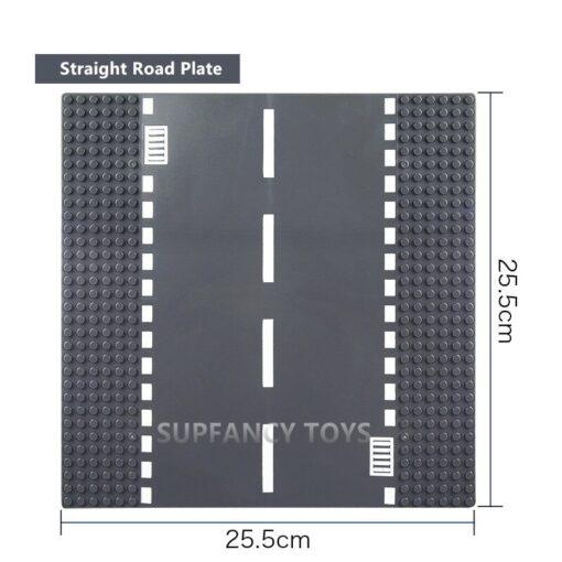 City Road Splicing Base Plate Straight T Junction Curve Street Baseplate Baseboard Building Blocks DIY Bricks 4