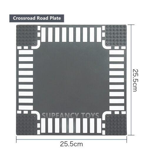 City Road Splicing Base Plate Straight T Junction Curve Street Baseplate Baseboard Building Blocks DIY Bricks 5