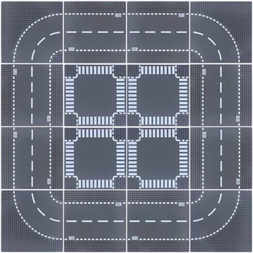 City Road Splicing Base Plate Straight T Junction Curve Street Baseplate Baseboard Building Blocks DIY Bricks