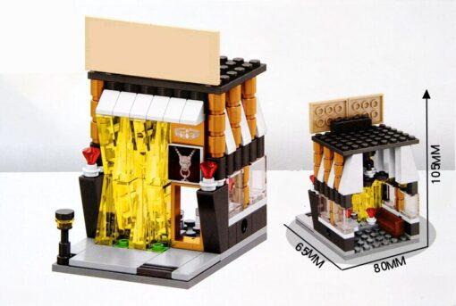 City Street View Series Architectur Candy Pizza Food coffee BBQ flower Shop Bookstore Building Blocks bricks 4