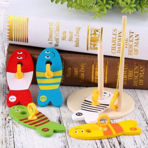 Colorful Wooden Fishing Digital Toys Baby Kids Fish Set Column Blocks Game Children Cute Early Educational 1