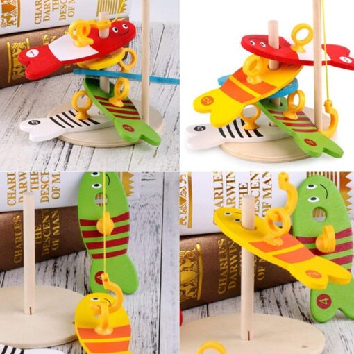 Colorful Wooden Fishing Digital Toys Baby Kids Fish Set Column Blocks Game Children Cute Early Educational 2