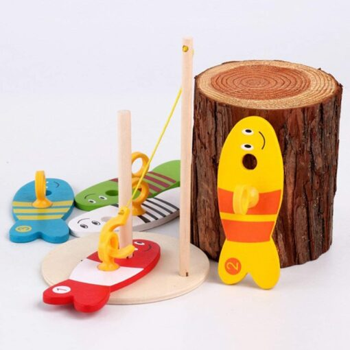 Colorful Wooden Fishing Digital Toys Baby Kids Fish Set Column Blocks Game Children Cute Early Educational 3