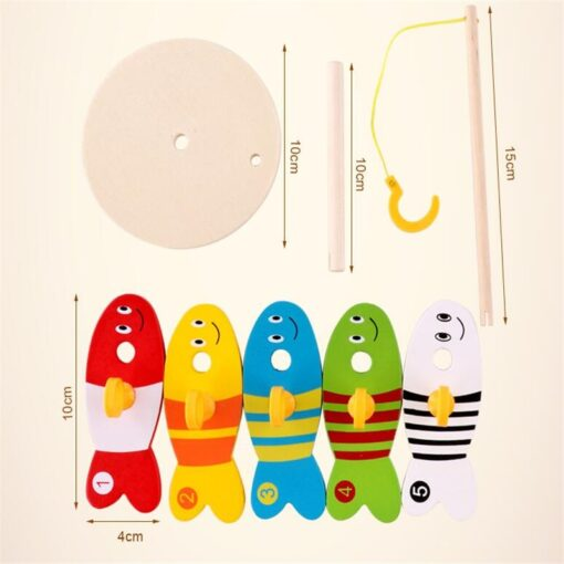 Colorful Wooden Fishing Digital Toys Baby Kids Fish Set Column Blocks Game Children Cute Early Educational 4