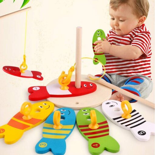 Colorful Wooden Fishing Digital Toys Baby Kids Fish Set Column Blocks Game Children Cute Early Educational