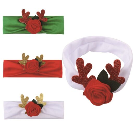 Comfortable 0 3T Infant Baby Girl Christmas Flower Cotton Elastic Headbands Cute With Elk Ear Holiday 1