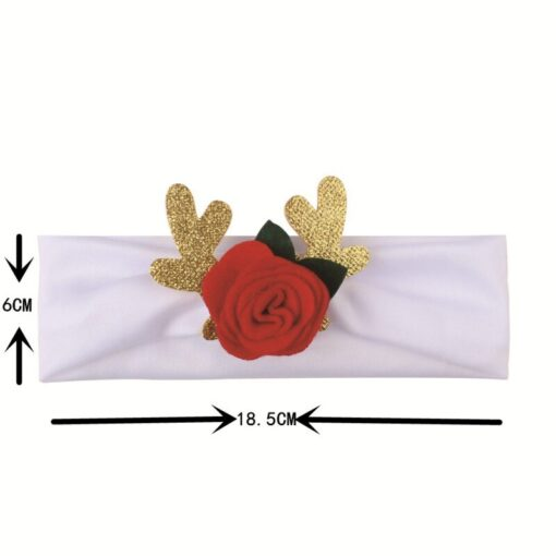 Comfortable 0 3T Infant Baby Girl Christmas Flower Cotton Elastic Headbands Cute With Elk Ear Holiday 2