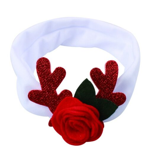 Comfortable 0 3T Infant Baby Girl Christmas Flower Cotton Elastic Headbands Cute With Elk Ear Holiday 3