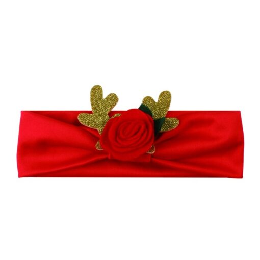 Comfortable 0 3T Infant Baby Girl Christmas Flower Cotton Elastic Headbands Cute With Elk Ear Holiday 4