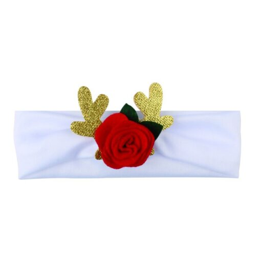 Comfortable 0 3T Infant Baby Girl Christmas Flower Cotton Elastic Headbands Cute With Elk Ear Holiday 5