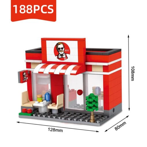 Compatible Toy City Mini Street Cafe Food Retail Convenience Store Architecture Building Blocks Sets Toys For 3