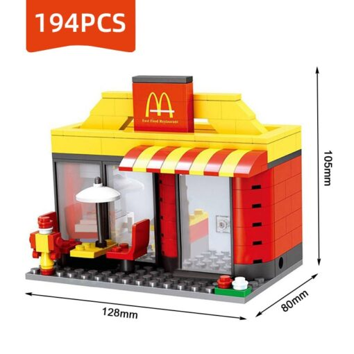 Compatible Toy City Mini Street Cafe Food Retail Convenience Store Architecture Building Blocks Sets Toys For 4