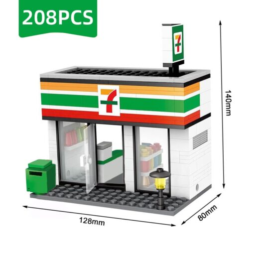 Compatible Toy City Mini Street Cafe Food Retail Convenience Store Architecture Building Blocks Sets Toys For 5