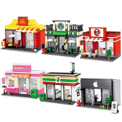 Compatible Toy City Mini Street Cafe Food Retail Convenience Store Architecture Building Blocks Sets Toys For