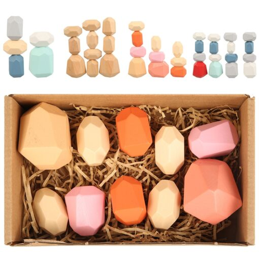 Creative Wooden Jenga Building Block Colored Stone Educational Toys Cold Tone Nordic Style Stacking Game Children 5