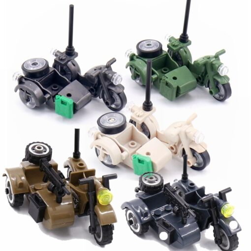 Creator Military Particles Accessory Motorcycle Tricycle Cartoon Car Brick Set Building Block Kid Toy Military Creators 1