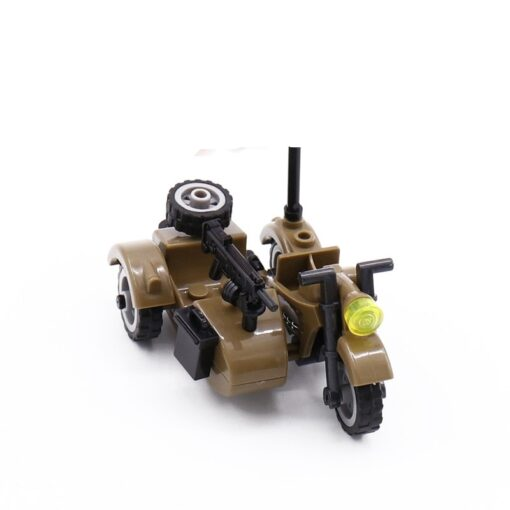 Creator Military Particles Accessory Motorcycle Tricycle Cartoon Car Brick Set Building Block Kid Toy Military Creators 3