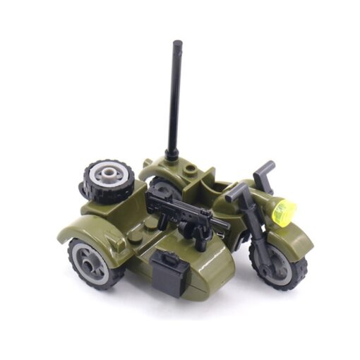 Creator Military Particles Accessory Motorcycle Tricycle Cartoon Car Brick Set Building Block Kid Toy Military Creators 4