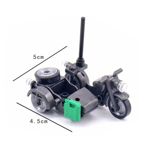 Creator Military Particles Accessory Motorcycle Tricycle Cartoon Car Brick Set Building Block Kid Toy Military Creators 5
