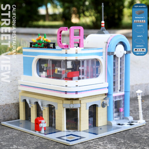 Creator Mould King Modular Buildings City Street View House Set with Light Architecture Brick Blocks Collection 2