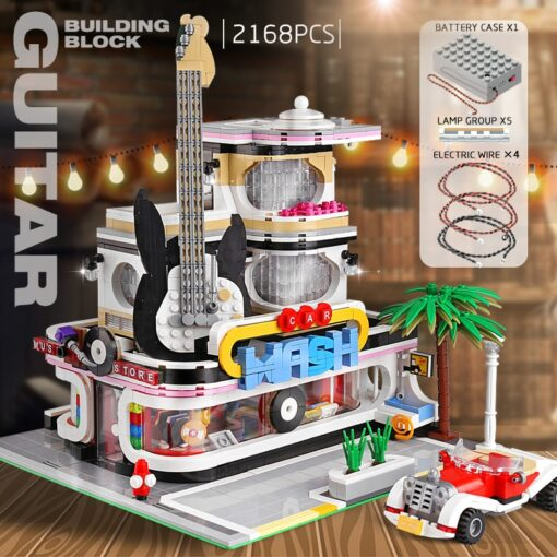 Creator Mould King Modular Buildings City Street View House Set with Light Architecture Brick Blocks Collection 5