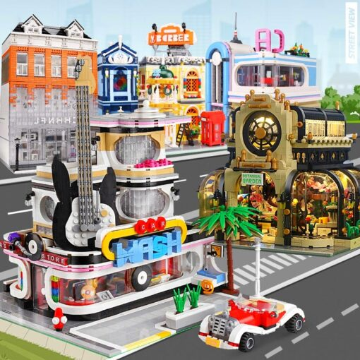Creator Mould King Modular Buildings City Street View House Set with Light Architecture Brick Blocks Collection