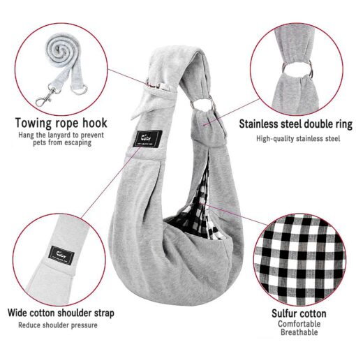 Cuby Hands Free Reversible Small Dog Cat Two Rings Sling Carrier Bag Outdoor Travel Double sided 2