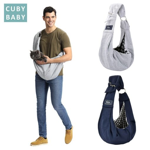 Cuby Hands Free Reversible Small Dog Cat Two Rings Sling Carrier Bag Outdoor Travel Double sided