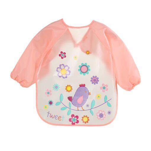 Cute Baby Waterproof Long Sleeve Apron Children Feeding Smock Bib Burp Clothes Soft Eat Toddler Baberos 1