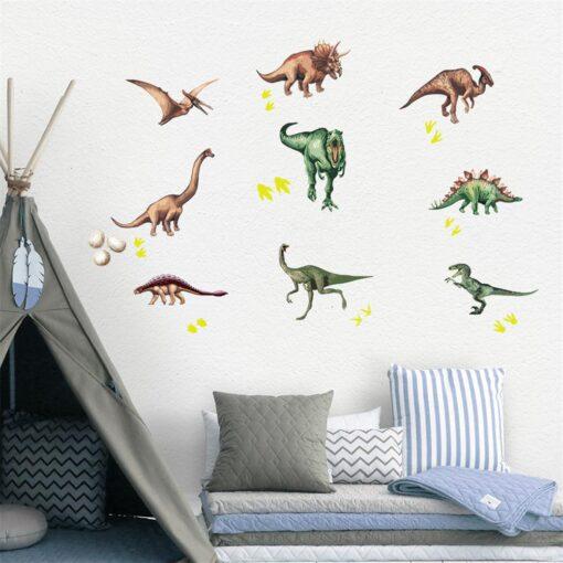 Cute Cartoon Dinosaur Wall Stickers For Kids Room Removable Cartoon Animal Wall Decals Adhesive Nursery School 2