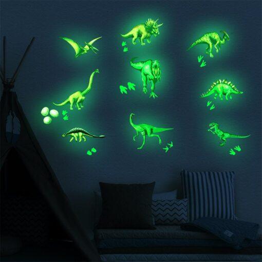 Cute Cartoon Dinosaur Wall Stickers For Kids Room Removable Cartoon Animal Wall Decals Adhesive Nursery School 4
