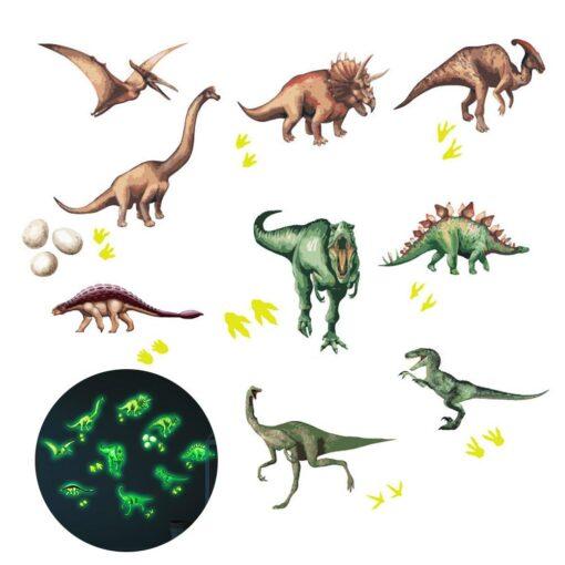 Cute Cartoon Dinosaur Wall Stickers For Kids Room Removable Cartoon Animal Wall Decals Adhesive Nursery School
