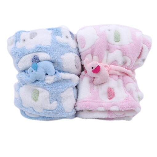 Cute Elephant Cartoon Baby Blanket Newborn Elephant Air Conditioning Quilt Coral Velvet Pillow Quilt dual use