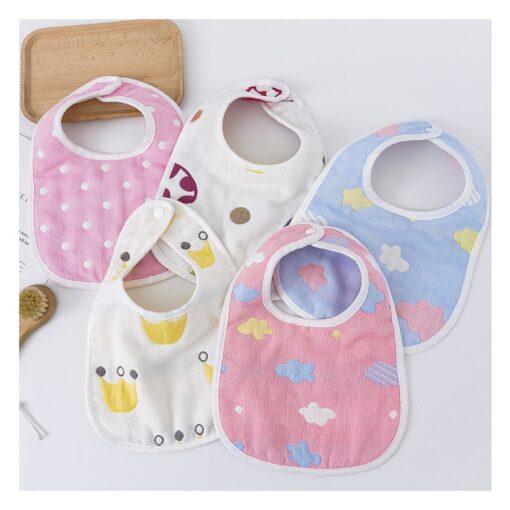 Cute Infant Baby Boys Girls Saliva Towel Bib Printing Washable U Shaped Soft Bib Gauze Absorbent